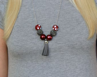Game Day Necklace, Game Day Jewelry, Maroon and Gray Necklace, College Necklace, University Necklace, College Gifts, Graduation Gifts