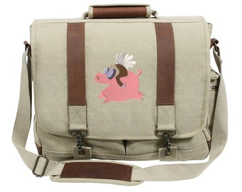 When Pigs Fly Embroidered Canvas with Leather Accents Premium Laptop Bag