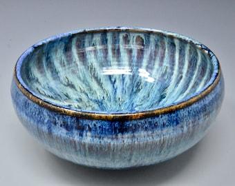 Blue Pottery Serving Ceramic Salad Bowl Pottery Pasta Bowl