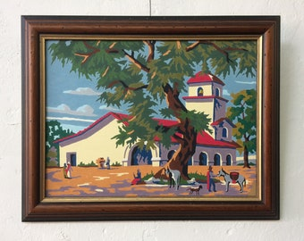 Vintage mid century paint by number mexico landscape with donkey