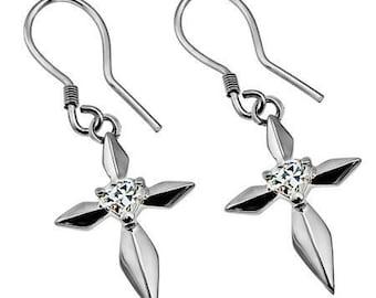 CZ Daisy Heart Star Earrings