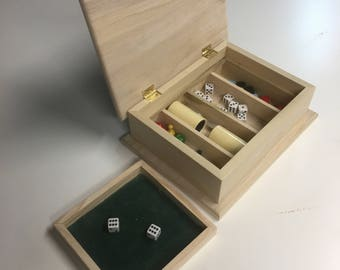 Dice Storage Box with Rolling Tray