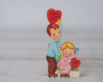1954 Valentines Card-  Roller Skates Boy Girl