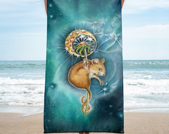 MOUSEMOON  -  Towel  --  ship from USA  --  mouse, mice, children,  pet, moon,space, dandelion, beach, sand,