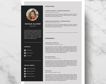 Resume Template Instant Download | CV Template + Cover Letter | DIY Printable | Professional and Creative Resume Design | Easy Edit