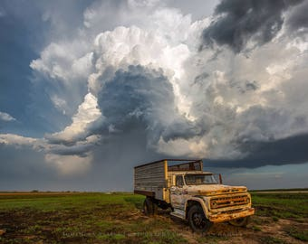 Truck Photography Print - Picture Old Chevy Wheat Truck Under Storm Cloud in Southwest Kansas Garage Home Decor 4x6 to 30x45
