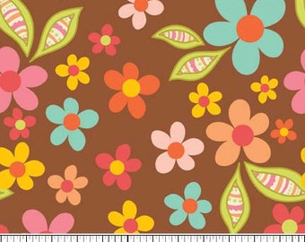 Sweet Nothings Brown Floral by Zoe Pearn Designs for Riley Blake, 1/2 yard