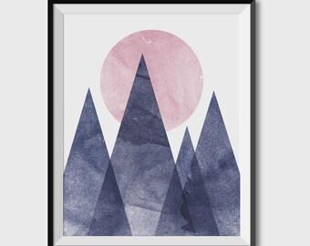 Blue Mountains,  printable art, digital downloads, Geometric Mountain Print, original art, Geometric Triangle Art, navy and pink