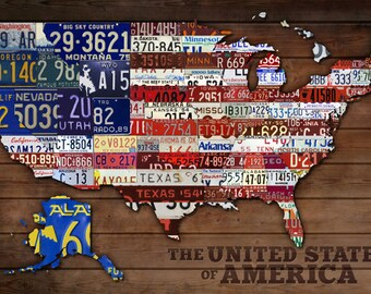 Americana - License Plate Map (Art Prints available in multiple sizes)