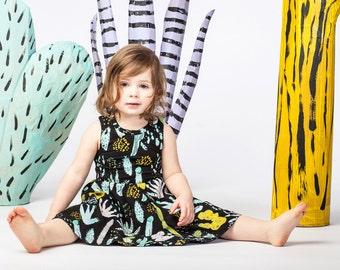 Cactus Dress- Succulent Dress- Toddler Dress- Printed Girls Dress- Organic Cotton Jersey Dress- Toddler Jumper- Easter Dress- Succulents