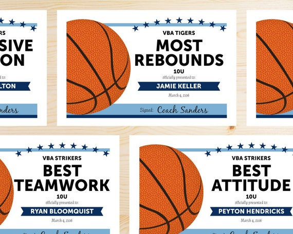 Editable basketball award certificates instant download yelopaper Image collections