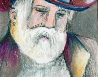 SALE original art aceo drawing Cowboy Santa Christmas