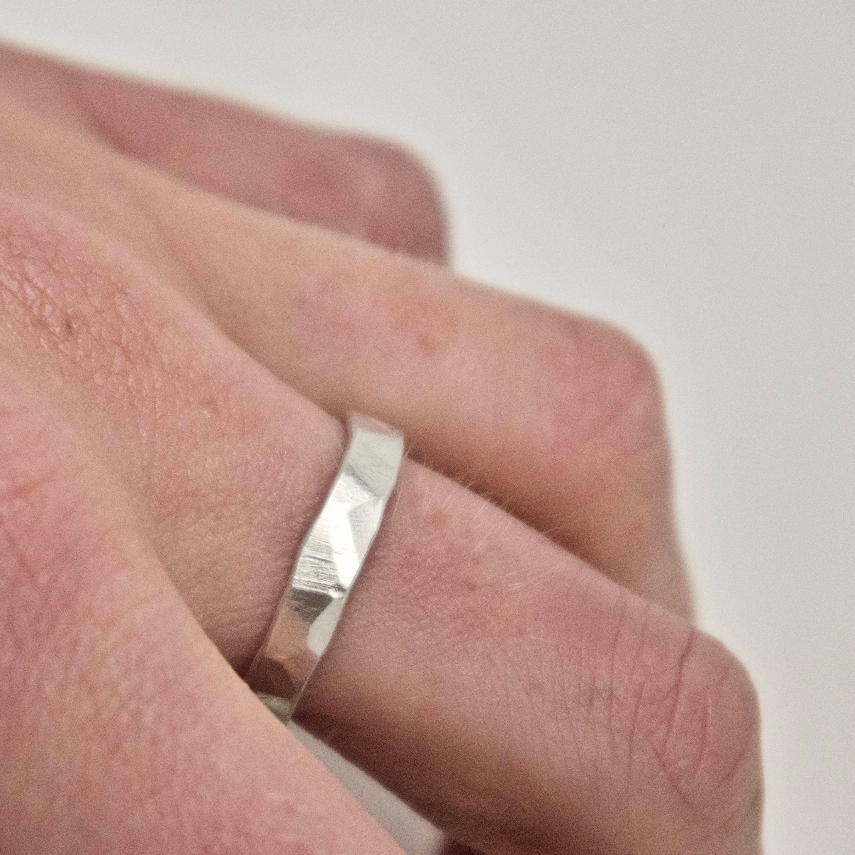 Wedding Band Set - Two Flat Hammered Silver Rings