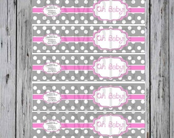 Custom Baby shower Water Bottle Label  Pink , Grey and White Polka Dots