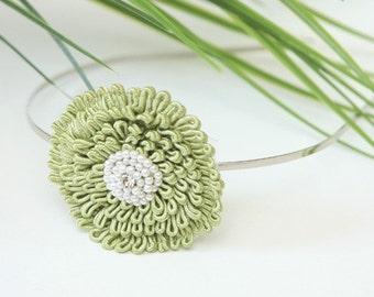 Lovely apple green flower with beaded center headband