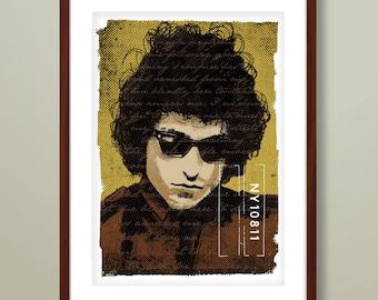 Bob Dylan portrait print, Bob Dylan art print, Bob Dylan inspired print, portrait print, Bob Dylan illustration, Bob Dylan, folk music