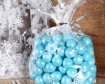 Christmas Cookie Bags, Small Snowflake Cellophane Bags & Twist Ties, Sweet Bags, Clear Candy Bags, Snowflake Favor Bags, Goodie Bags