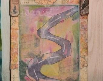 travel mixed media framed art