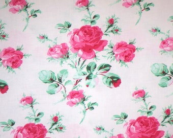 Sweet Pink on White Peppermint Rose Print Pure Cotton Fabric--By the Yard