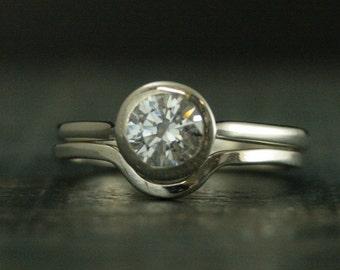Bezel Set Engagement Set--Sterling Silver Engagement Ring--Sterling Silver Bridal Set--White Topaz Ring-White Sapphire Ring--Moissanite Ring