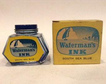 Vintage Watermans (South Sea Blue) 2 Oz. #472 Empty Ink Bottle and Original Box with Embossed Anchor Hocking Logo