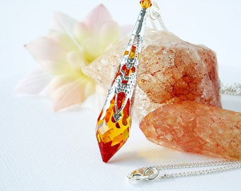 Swarovski Crystal Necklace Topaz Single Point Crystal Pendant 18 or 24 inch Chain