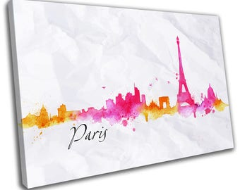 Watercolour Paris Skyline Cityscape Canvas Print Home Decor- Abstract Wall Art - Modern Prints - Ready To Hang