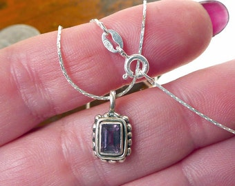 Amethyst Necklace in Solid Sterling Silver, .925 Silver and Genuine Small Amethyst Jewelry, February Birthstone Necklace  SE-808