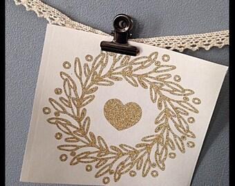 Sticker Crown gold glitter heart