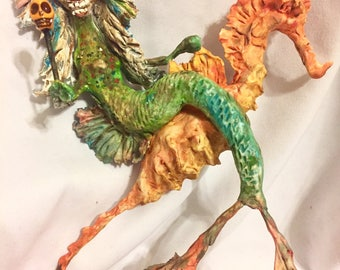 Creepy Primitive SKELLY MERMAID Witch Riding SEAHORSE Primitive papermache clay decoration ornament art sculpture finished