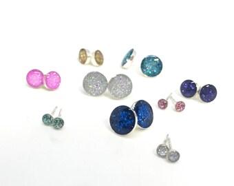 Stud earrings silver studs glitter earrings sparkle earrings glitter stud earrings sterling silver stud earrings glitter studs