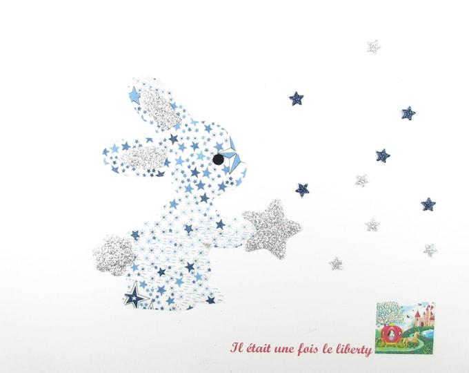 Applied fusible liberty Adelajda blue flex Bunny star fabric glitter pattern rabbit patch iron on applique Bunny