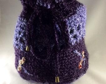 Crochet Tote Bag, Crochet Market Bag, Boho Bag, Drawstring Hand Bag, Craft Bag, Beach Tote, Beach Bag, Summer Tote, Shopping Bag
