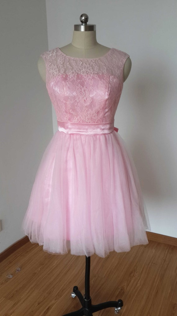 2015 Backless Blush Pink Lace Tulle Short Prom Dress