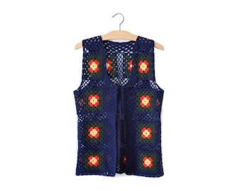 Vintage granny square crochet vest | M