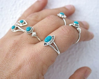 Sterling Silver Turquoise Ring - Boho Ring - Statement Ring - Boho Jewelry - Turquoise Jewelry - Sterling Silver  Ring Turquoise
