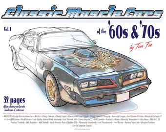 Muscle Cars of the 60s and 70s Vol.1, Adult Coloring Book, Printable Coloring Pages, Coloring Book Adults, Digital Instant Download 33pages.