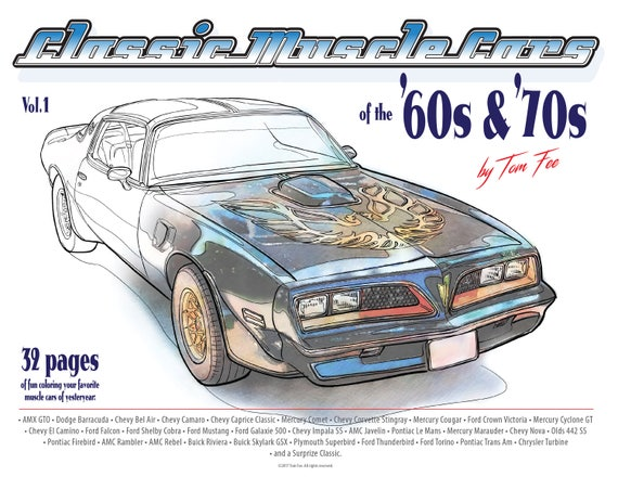Muscle Cars Of The 60s And 70s Vol1 Adult Coloring Book