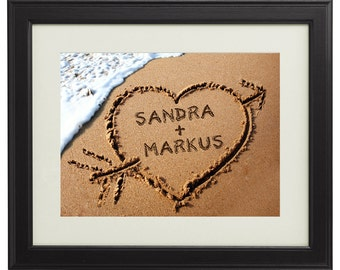 Heart in the Sand – Romantic Framed Picture - Christmas Gift