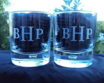 Etched Pair Personalized Straight Sided Rocks Glasses for Groomsman Gifts, Groom, Bridesmaids, Wedding Gifts, Home Bar  by Jackglass on Etsy