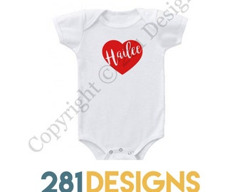 Heart with Custom Name Onesie, Valentine's Day Onesie, Holiday Onesie, Heart Onesie, Baby Gift, Baby Girl Onesie, Valentines Onesie