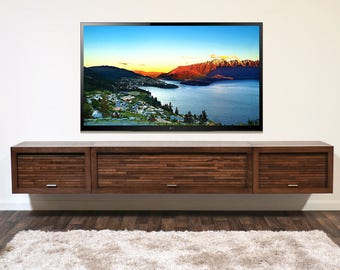 Wall Mounted TV Stand Entertainment Console - ECO GEO - 3 Piece - Mocha