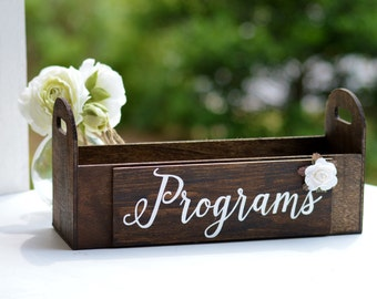 Wood programs box, rustic wedding programs holder, calligraphy wedding decor, cards crate, advice for the bride and groom