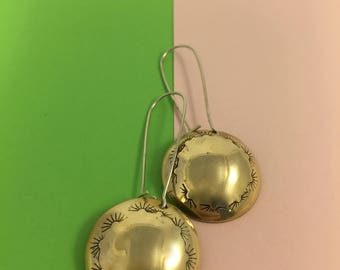 Cowgirl brass rounds earrings