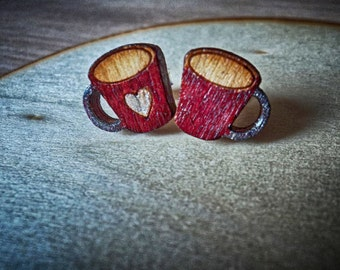 Mini cups studs Hand painted earrings Cute laser cut cups Wood jewellery Silver pins 925 Wood laser cut earrings