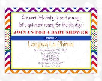Gender Neutral Baby Shower Invitation He Or She Boy Or Girl Baby Shower Invitation Rainbow Chevron Polka Dot DIY Printable Invite PDF (#6)