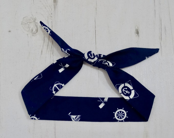 Baby Head Scarf - Navy Blue Nautical - Cotton Bib Baby Shower Bandana Bib Boy or Girl Gift Tattoo Anchor
