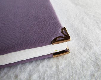 Notebook, Coptic binding, purple leatherette, save angles, metal protections, hand-bound notebook, travel diary, travel Notebook