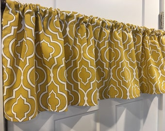 Mustard Yellow with White Geometric Valance Curtain