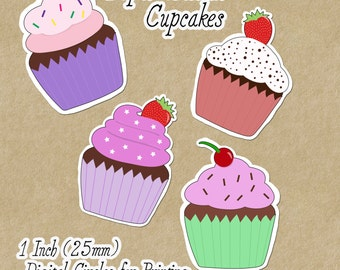 Digital Download - Paper Sticker Cupcakes - 1 inch (25mm) Round Printable images for jewellery, pendants, and magnets